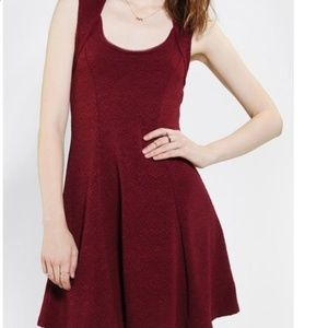 Silence + Noise | Maroon Cutout Skater Dress